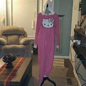 New Hello Kitty Footless Hooded Fleece Jumpsuit